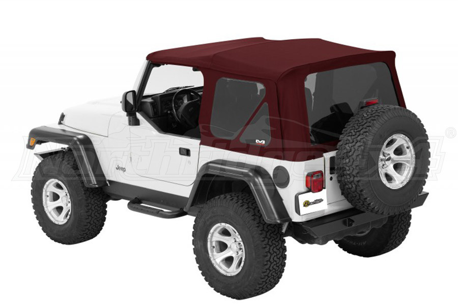 Bestop Twill Supertop NX Soft Top with Tinted Rear and Side Windows, No Doors, Complete Soft Top - Red Twill (Part Number:54822-68)
