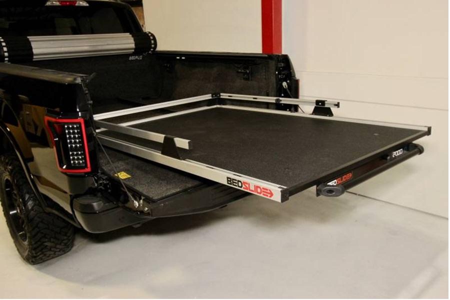 BedSlide 2000 Heavy Duty Cargo Slide System, Silver - 95in x 48in  - Toyota Tundra 2007+ / Ram 1981+ 1500/2500/3500  w/ 8ft Bed