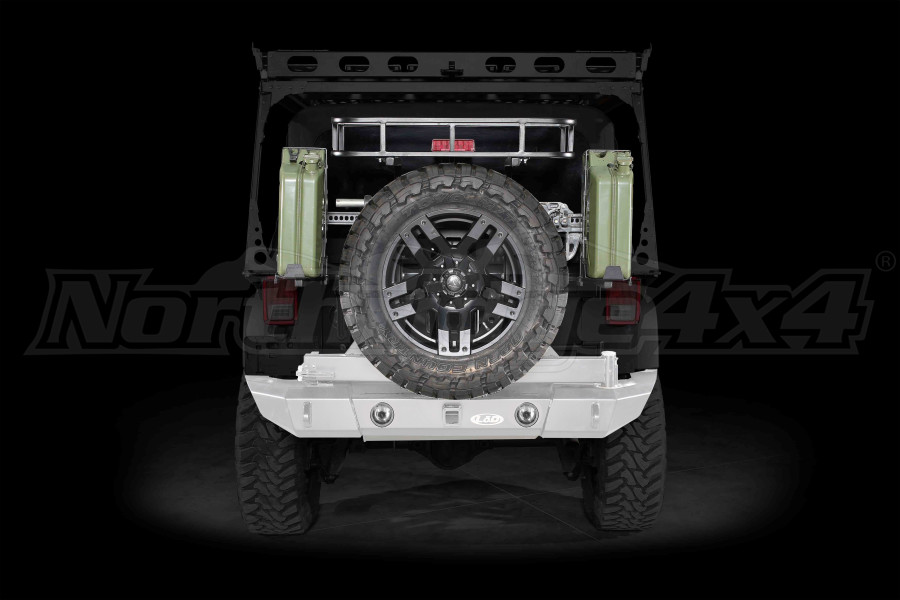 LOD Signature Series Full Width Rear Bumper w/Tire Carrier and Round Light Cut Outs Bare Steel (Part Number:JBC0762)