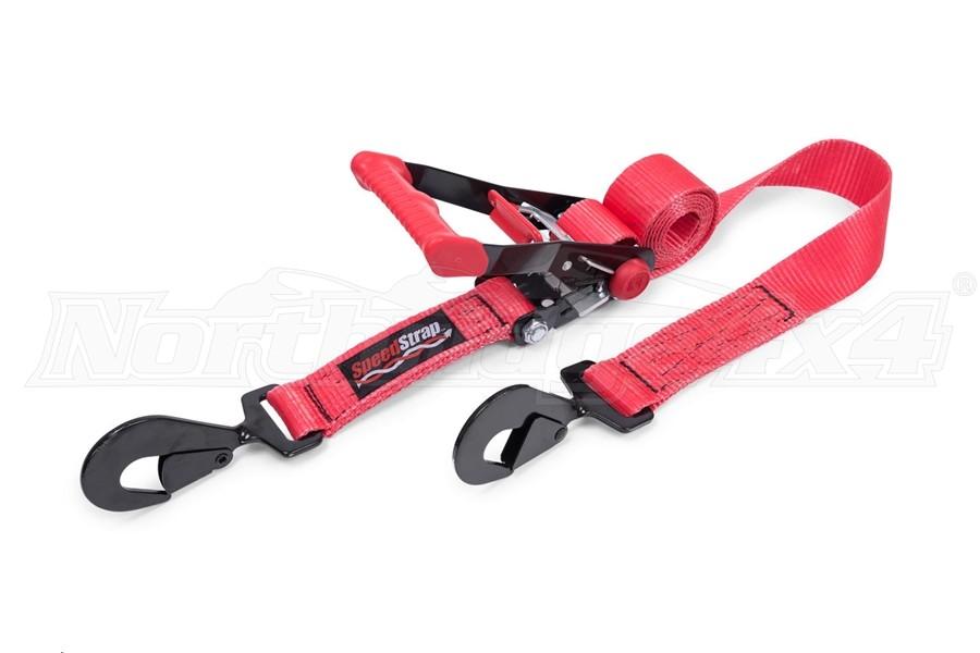 SpeedStrap 2in x 8ft Rachet Tie Down w/ Twisted Snap Hooks, Red
