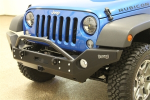 Rock Hard 4x4 Patriot Series Full Width Front Bumper w/ Receiver and Lowered Winch Mount  - JK