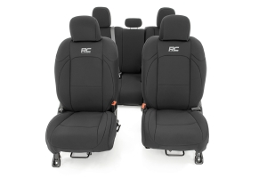 Rough Country Front and Rear Neoprene Seat Cover Set - Black  - JT w/ Leather Seats and Cup Holder