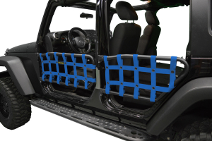 Dirty Dog 4X4 Olympic Front & Rear Tube Door Netting, Blue - JK 4DR