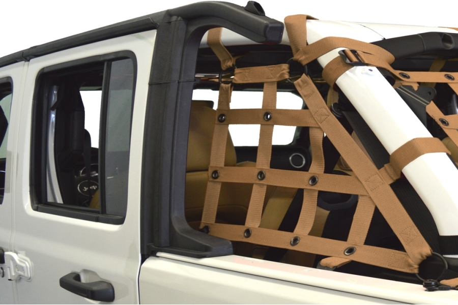 Dirty Dog 4x4 2pc Cargo side only Netting Kit, Sand - JL 4Dr