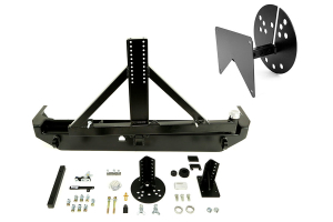 Rock Hard 4x4 Rear Bumper w/ License Plate Relocation Bracket - JK