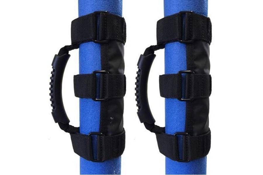 Bartact Universal Roll Bar Rubber Grip Grab Handles, Pair - Black
