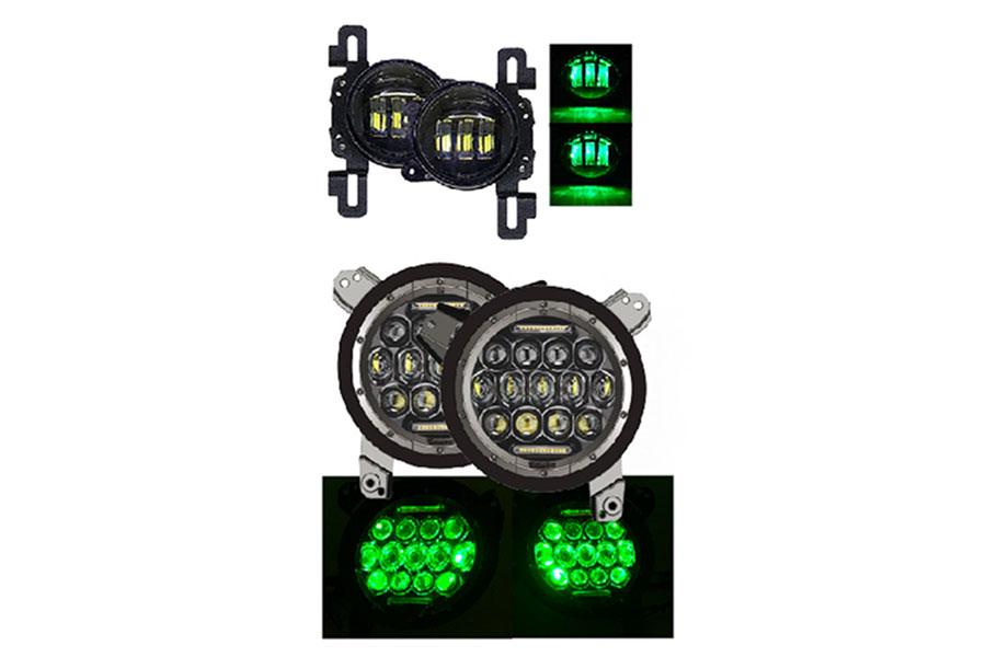 Quake LED 9in RGB Headlight/4in Fog Light Set - JL/JT