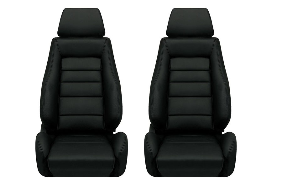 Corbeau GTS II Black Leather Seat Pair