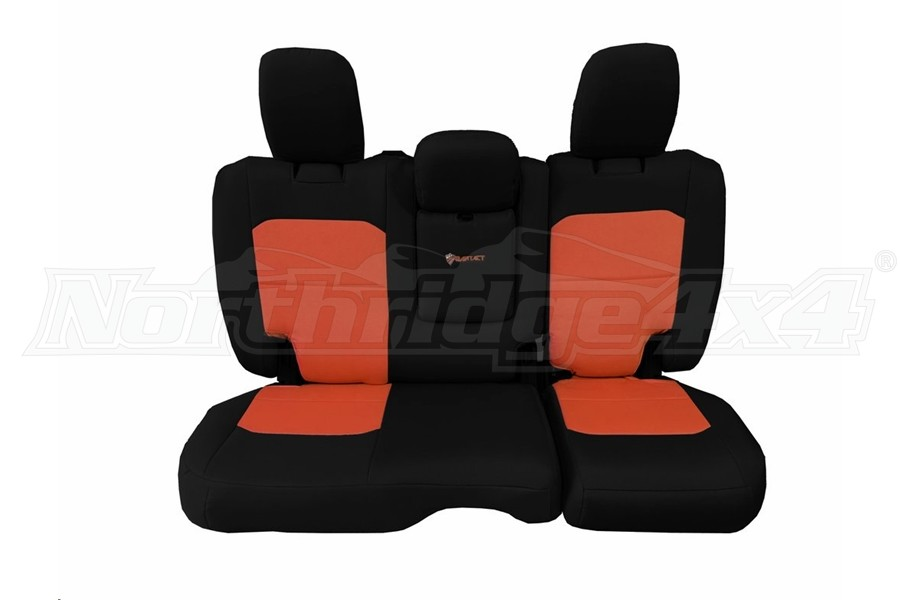 Bartact Tactical Rear Seat Cover w/Fold Down Armrest Black/Orange (Part Number:JLSC2018RFBN)
