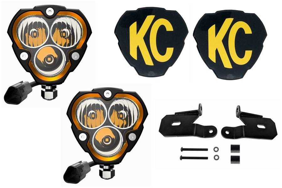 KC HiLites Flex ERA 3 LED Combo Light System w/ A-Pillar Brackets - JT/JL