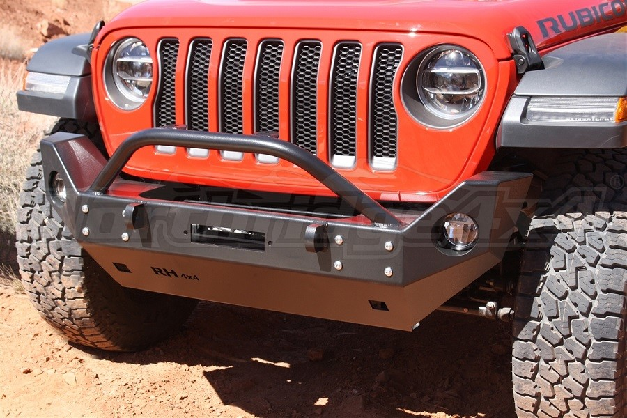 Rock Hard 4x4 Patriot Series Mid Width Front Bumper with Lowered Winch Plate, Steel (Part Number:RH-90216)