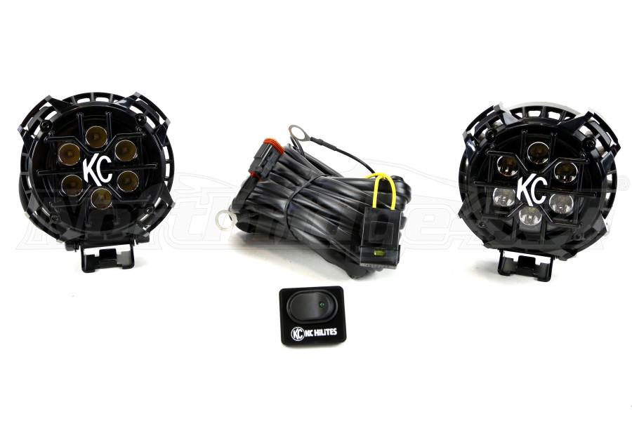 KC HiLites Round LZR LED Light Pack System Black 4in