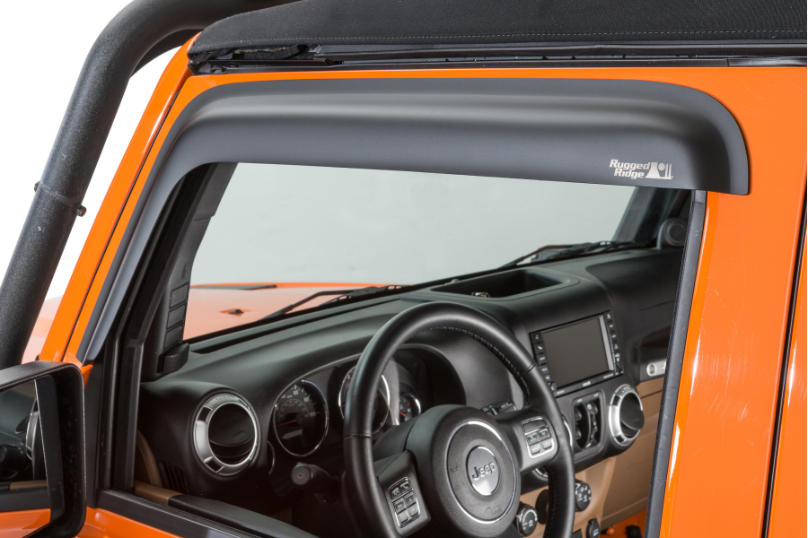 Rugged Ridge Front Window Visors, Matte Black - JK 2Dr