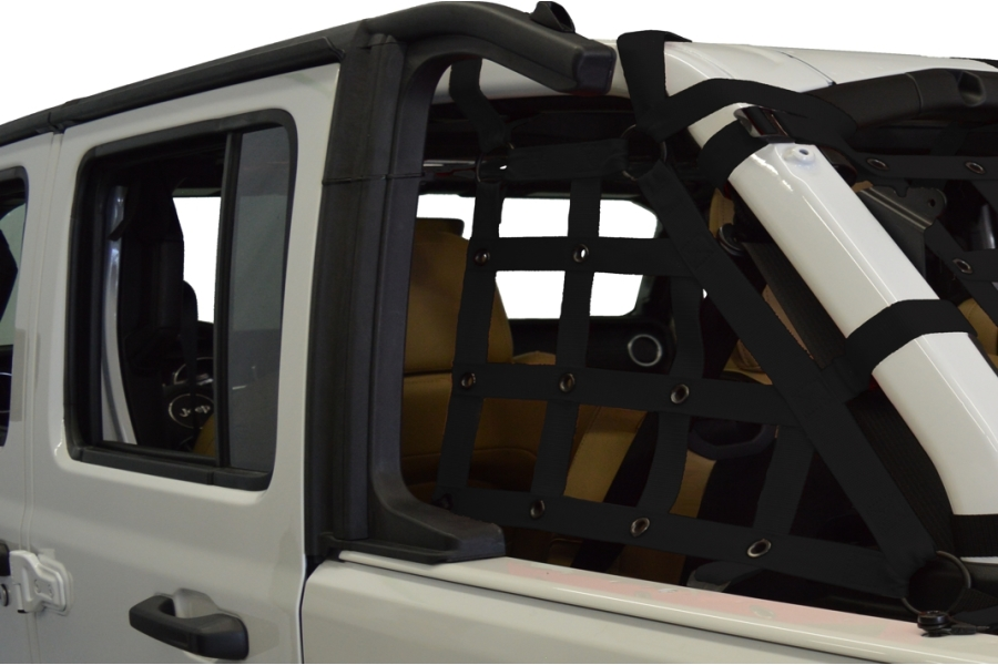 Dirty Dog 4x4 2pc Cargo side only Netting Kit, Black - JL 4Dr