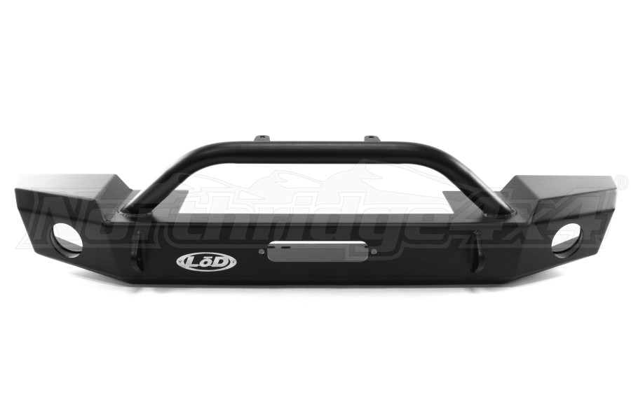 Lod Signature Series Mid-Width Front Bumper for Warn Power Plant Winch Black Powder Coated - JK