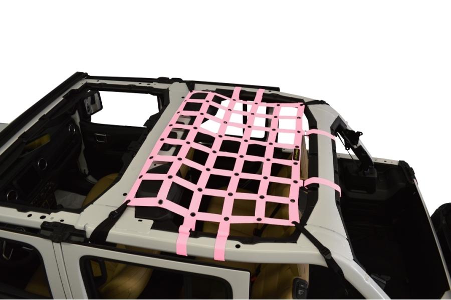 Dirty Dog 4x4 Rear Seat Netting, Pink - JL 4Dr