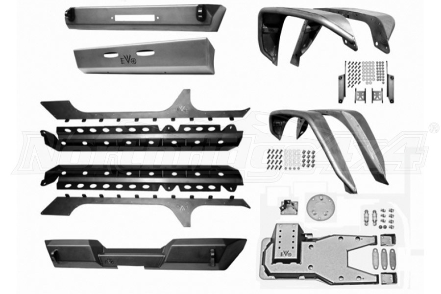 EVO Manufacturing Pro Series Armor Package, Raw - JK 4DR