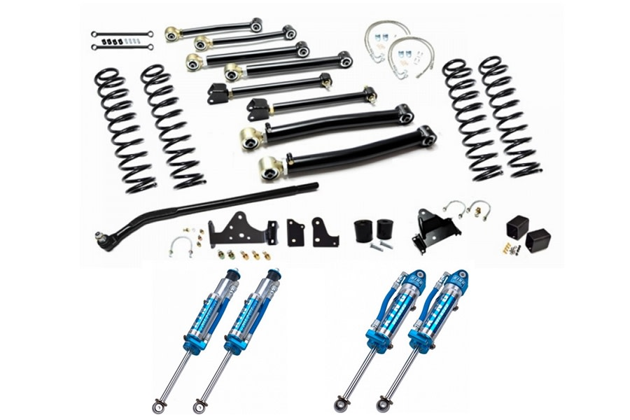 EVO Manufacturing 4in Enforcer Stage 3 Lift Kit w/ Draglink Flip Kit and King Shocks - JK