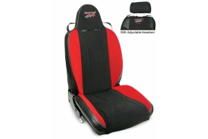 MasterCraft Baja RS DirtSport Reclining Seat w/Adj. Headrest & BRS Stitch Pattern - Black/Black/Red