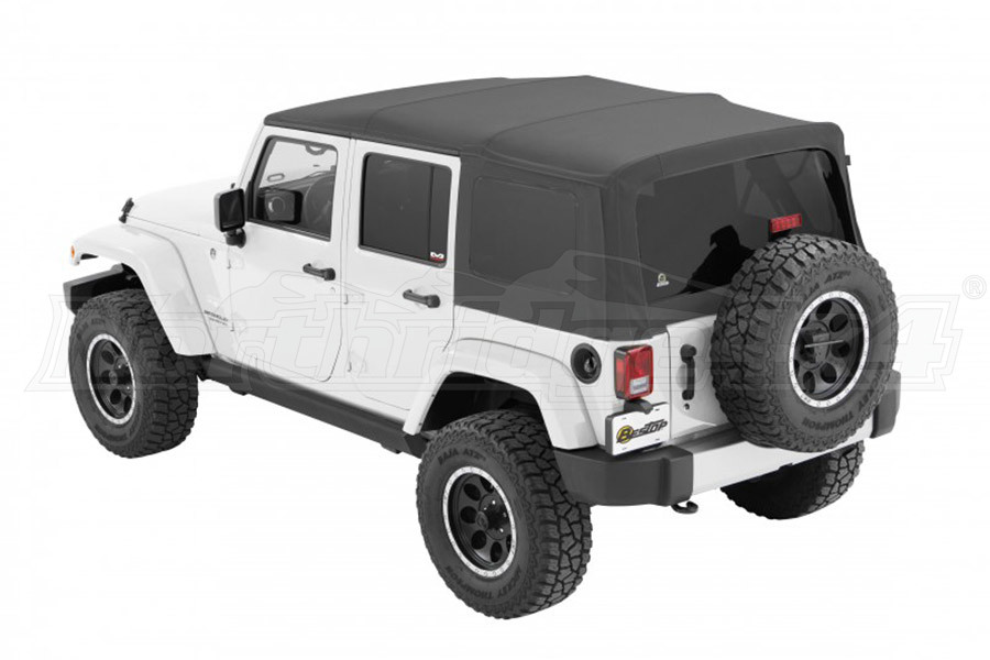 Bestop Supertop NX Soft Top with Tinted Rear & Side Windows, No Doors, Grey Twill - JK 4DR
