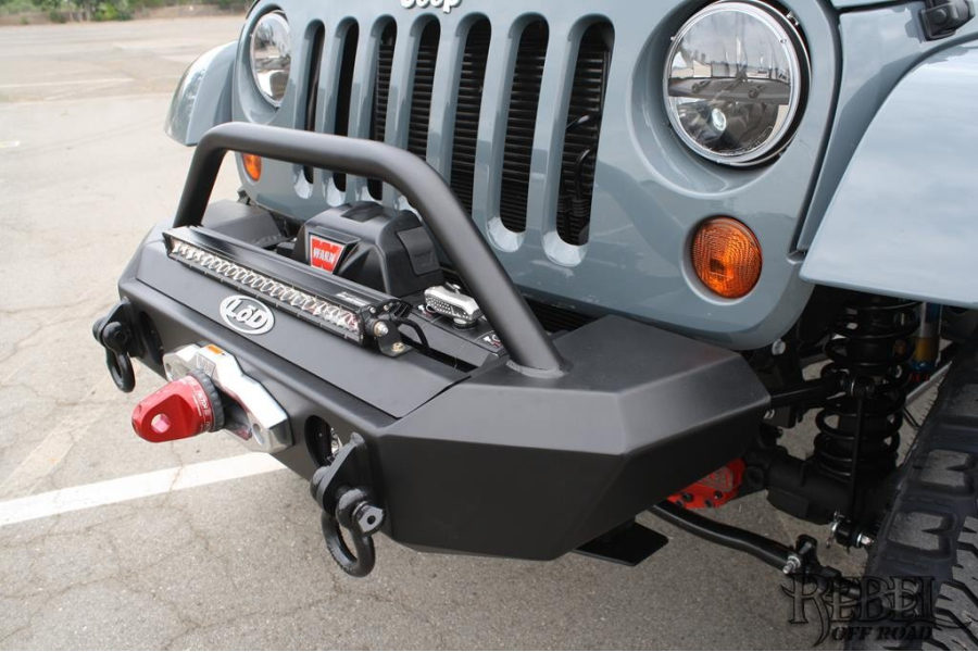 LOD Signature Series Shorty Front Bumper w/Bull Bar For Warn Zeon Winch Bare Steel (Part Number:JFB0736)