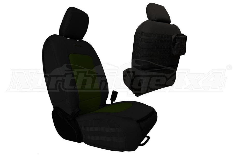 Bartact Tactical Front Seat Covers Black/Olive (Part Number:JLTC2018FPBO)