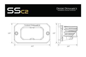 Diode Dynamics SSC2 2IN Sport Flush Mount LED Flood Pod, WBL