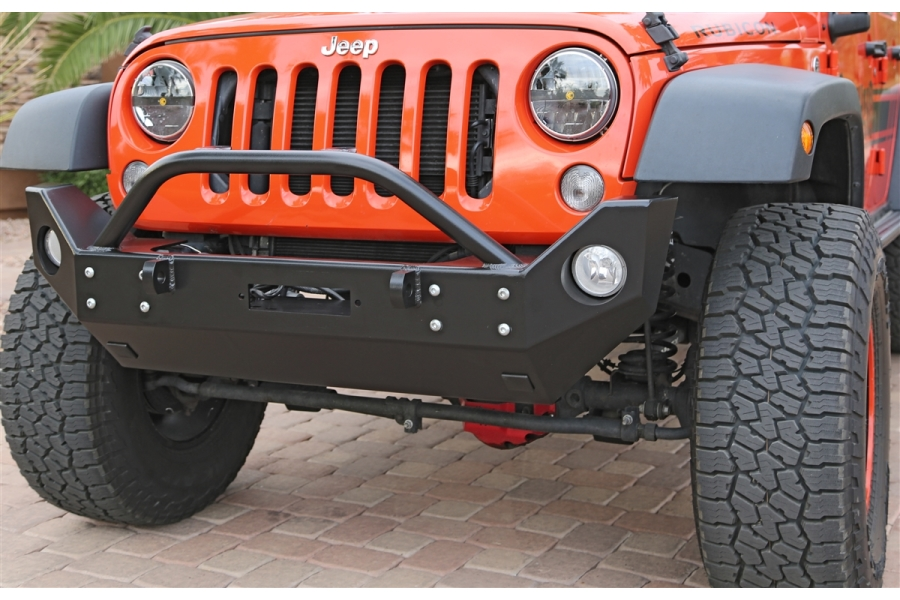 Rock Hard 4x4 Patriot Series Mid Width Front Bumper w Lowered Winch Plate Aluminum (Part Number:RH-5048)