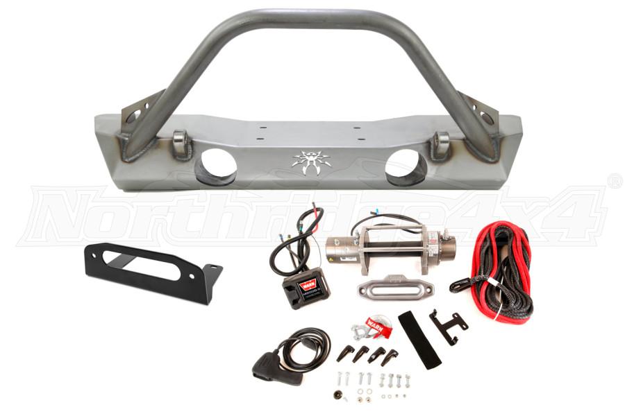 Poison Spyder Brawler Lite Front Bumper and Warn Winch M8000-S Package - JK