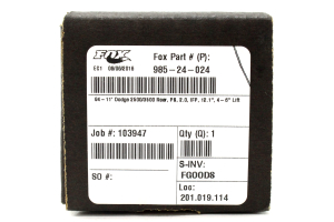 Fox Performance Series Smooth Body IFP Shock Rear 4-6in Lift (Part Number: )