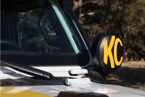 KC HiLites 6in Round Vinyl Cover - Black/Yellow
