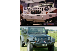 LOD Full Width Front Bumper w/Bull Bar for Warn Zeon Series Winch, Bare Steel (Part Number: )