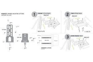 Overland Vehicle Systems Nomadic Awning Bracket & Install Kit for 270 and 180 Awnings