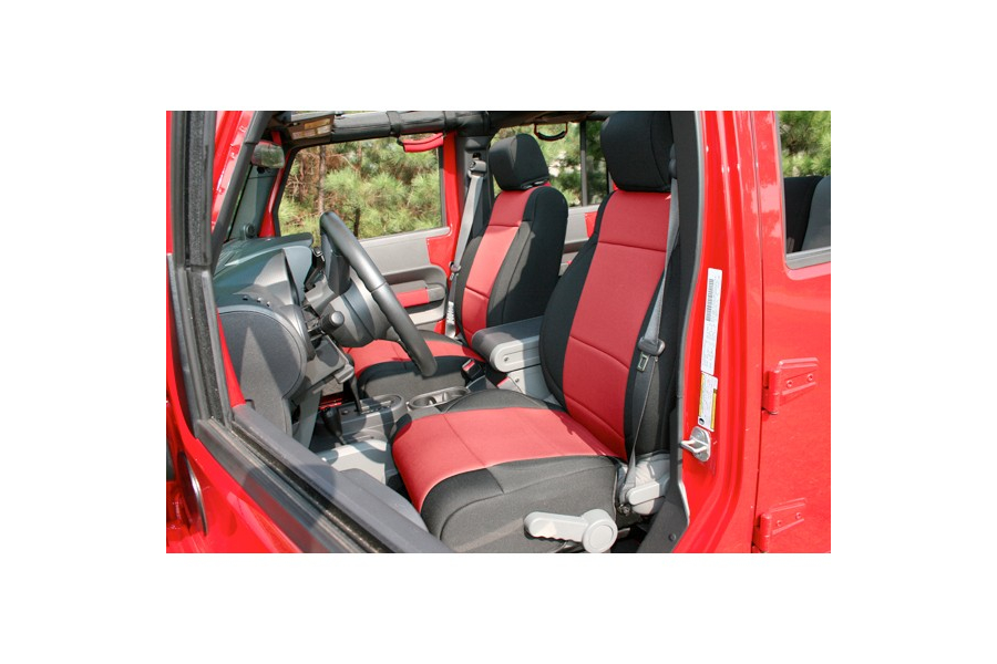 Rugged Ridge Neoprene Front Seat Covers, Black/Red  - JK 2011+