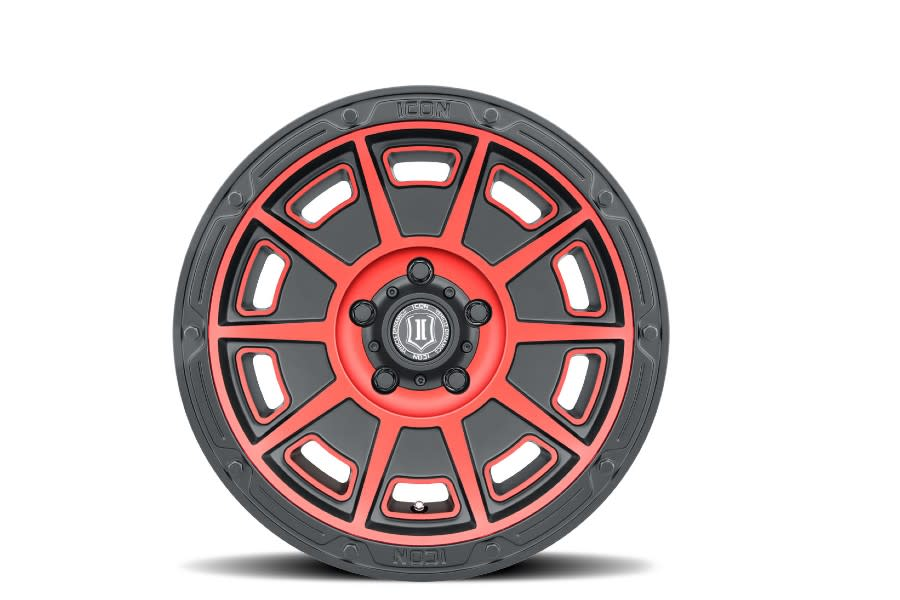 ICON VEHICLE DYNAMICS Victory Satin Black Red Wheel, 17x8.5 6X135