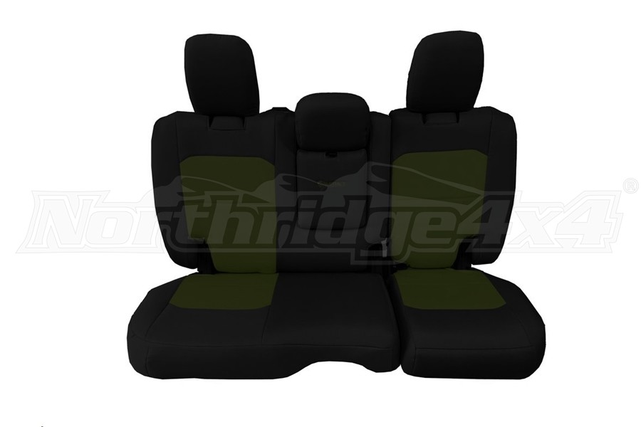 Bartact Tactical Rear Seat Cover w/Fold Down Armrest Black/Olive Drab (Part Number:JLSC2018RFBO)