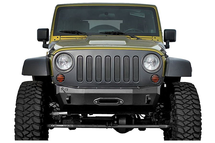 Rock-Slide Engineering Aluminum Series Shorty Front Bumper With Winch Mount (Part Number:FB-S-101-JKA)