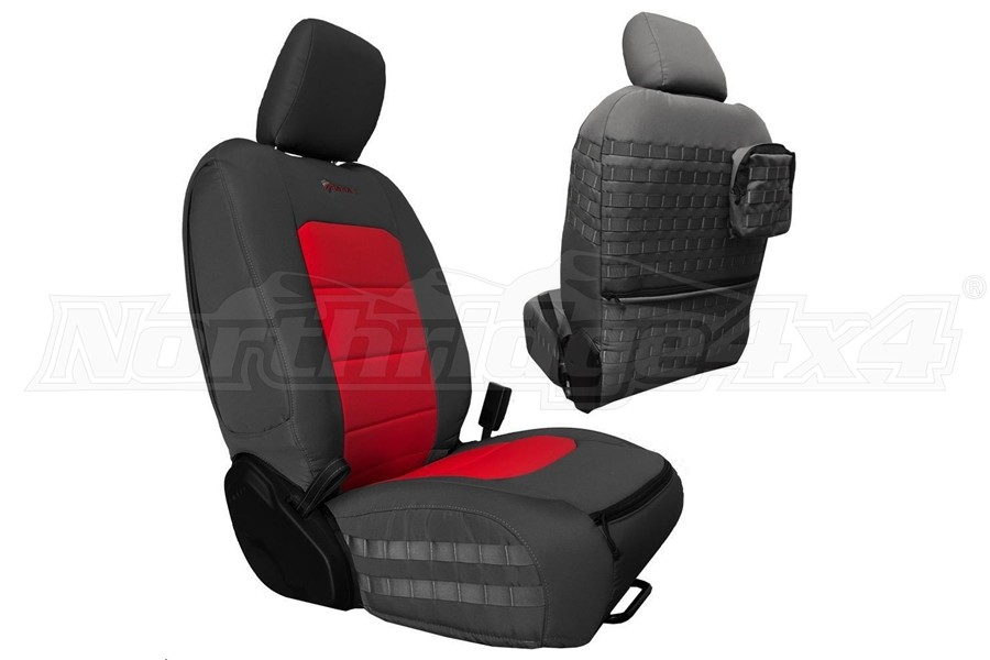 Bartact Tactical Front Seat Covers Graphite/Red - JL 4dr