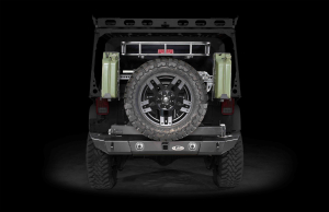 LOD Signature Series Full Width Rear Bumper w/Tire Carrier and Round Light Cut Outs Black (Part Number: )