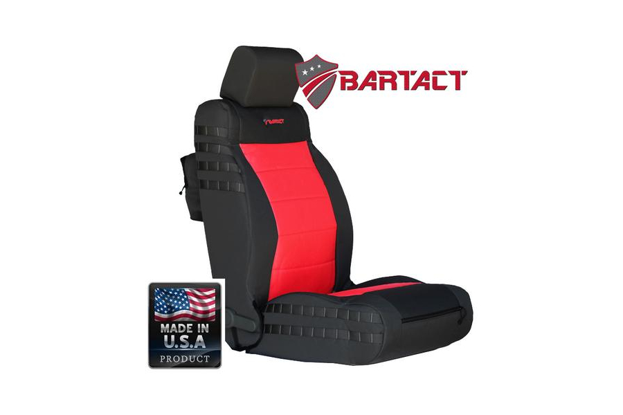 Bartact Mil-Spec Front Seat Cover Air Bag Compliant Black/Red - JK 2007-10