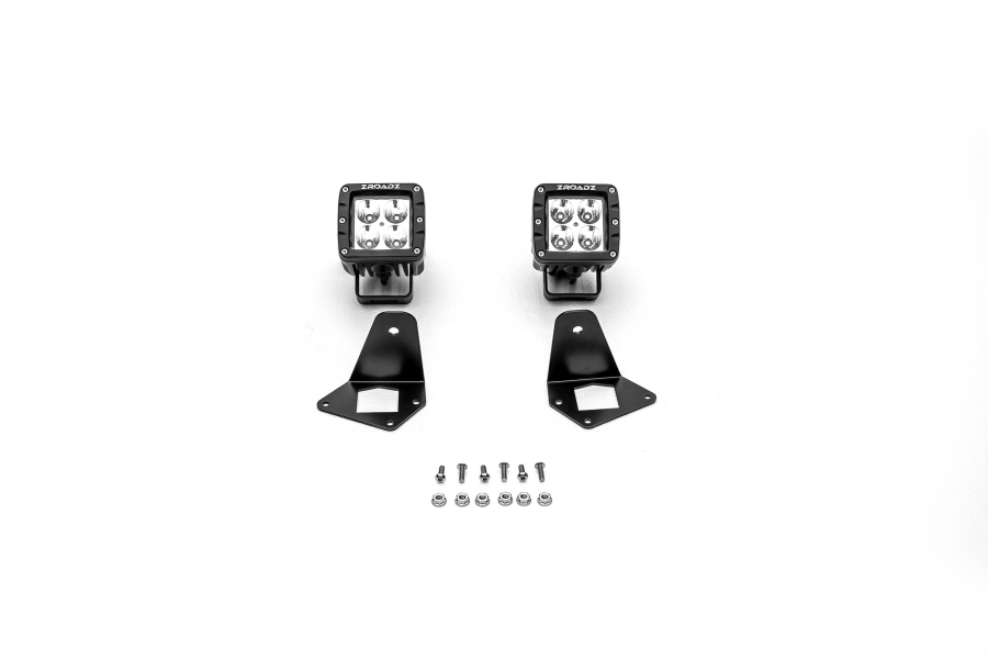 T-REX ZROADZ Side Mount LED Kit For Zroadz Front Roof Mounts w/2 - 3in Zroadz Cube Pod Work Lights (Part Number:Z334851-KIT2)