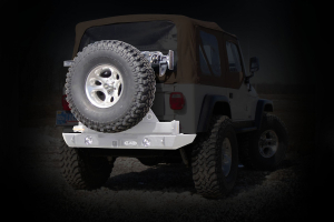 LOD Signature Series Rear Bumper w/Tire Carrier and Round Light Provisions Bare Steel (Part Number: )