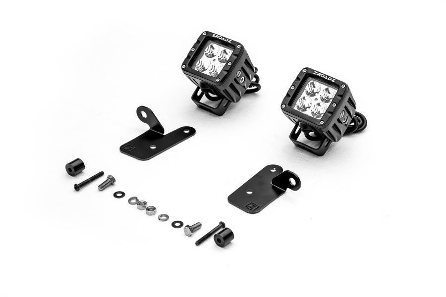 T-REX ZROADZ A Pillar Lower Pod Style LED Light Bar Mount Kit w/ 2 - 3in Cube LED Work Lights (Part Number:Z364941-KIT2)