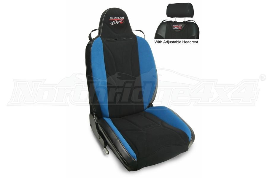 MasterCraft Baja RS DirtSport Reclining Seat w/Adj. Headrest & BRS Stitching- Black/Black/Blue