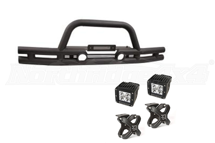 Rugged Ridge Double Tube Front Bumper w/ Black X-Clamp LED Kit (Part Number:TUBEBUMPERPKG2)