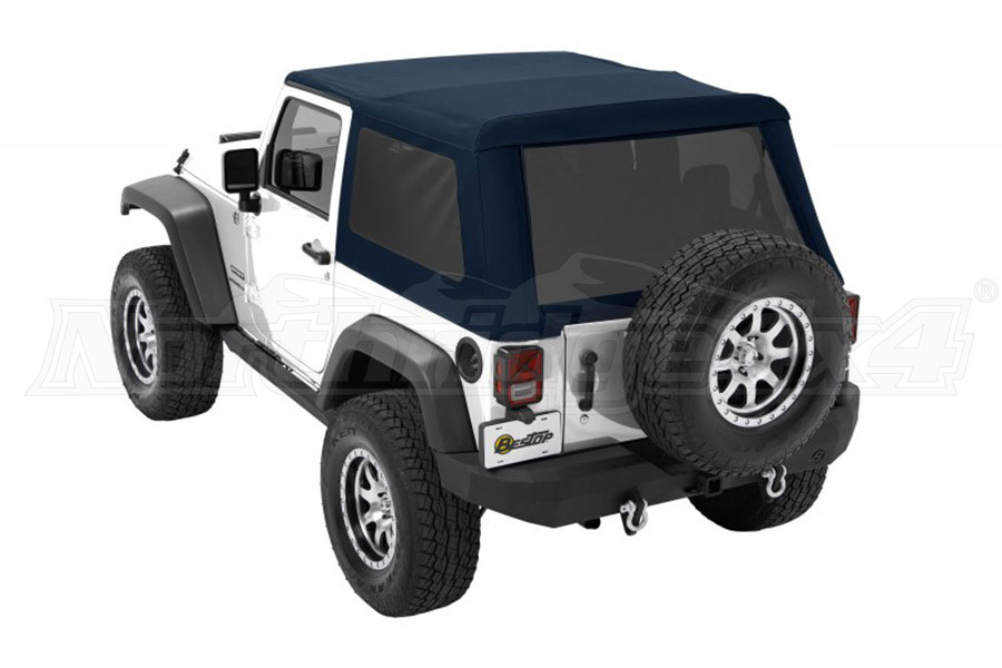 Bestop Trektop NX Glide Soft Top with Tinted Side & Rear Windows - Blue Twill - JK 2DR