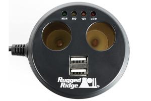 Rugged Ridge Power Cup, 2 x USB + 2 x Accessory Ports, Universal
