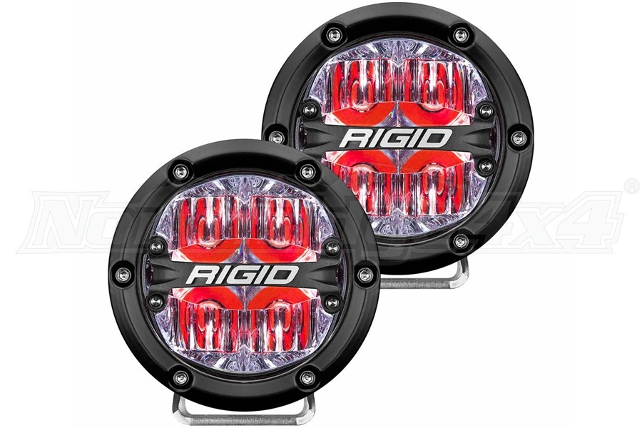 Rigid Industries 360 SERIES 4in LED OFF-ROAD Lights - Driving w/ Red Backlight
