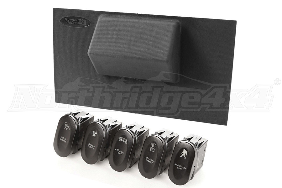 Rugged Ridge Etched Lower 4 Switch Panel Kit - JK
