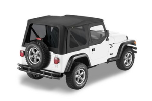 Bestop Sailcloth Soft Top w/ Tinted Windows and Fabric Upper Doors Black - TJ